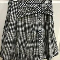 Odille Anthropologie Womens Blue & Cream Plaid Checked Pleated Flared Skirt 4   Photo