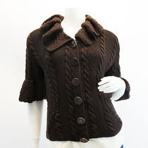 Odlr Cashmere Cable Knit Trumpet Sleeve Sweater  Photo