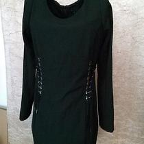 Of Two Minds Sexy Black Mini Dress Corset Lace Up Side Long Sleeve Cocktail Sz S Photo