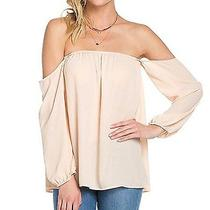 Off the Shoulder Chiffon Blouse Medium Blush Photo