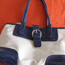 Off-White &  Blue Faux Croc Trim Tote Bagdouble Handleavon Nip Photo