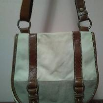 Off White Canvas Leather Fossil Messenger Crossbody Bag Photo