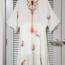 Off White Floral Embroidery Tie Neck Midi Dress 2xl W/ Anthropologie Earrings Photo