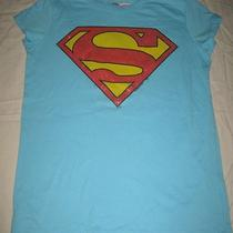 Official Superman Supergirl Glitter Logo Aqua Blue T-Shirt Girls Large L Photo