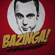 Official the Big Bang Theory Bazinga Sheldon Cooper T Shirt Sz L Tv Show Sitcom Photo