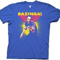 Official the Big Bang Theory Bazinga Sheldon Posterized Royal Large Tee T-Shirt Photo