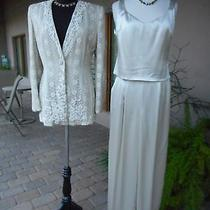 Oh My My 3k Badgley Mischka 3 Pc Beige Belted Lace Suit Top Jacket Pants 10 Photo