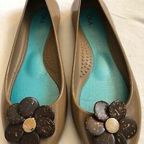 Oka B. Women's Shoes Tan Flower Bloom Ballet Jelly Flats Rubber Size 8 Photo