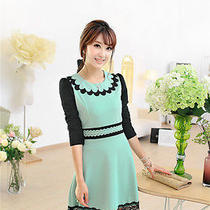 Ol Sweet Vogue Contrast Color Design Doll Collar Lace Hem Show Thin Casual Dress Photo