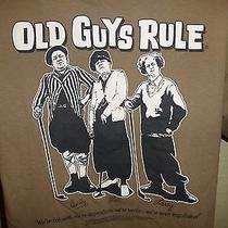 Old Guys Rule Three Stooges Golf Collection Bag Balls Clubs Irons T Shirt Sz M Photo