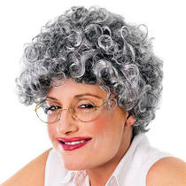 Old Lady Wig Ladies Curly Wavy Grey Granny Queen Womens Fancy Dress Photo