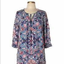 Old Navy 3/4 Sleeve Blue Floral Boho Print Tunic Dress Size Small Photo