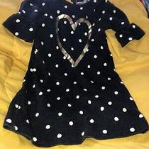 Old Navy 3t Girls Navy Blue White Polka Dotted Gold Heart Dress Photo