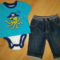 Old Navy 6-12 Month Boys Outfit Soft Waist Jeans Mustache Octopus Top Tee S/s Photo