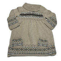 Old Navy 6-12 Month Girls Sweater Dress Tan Long Sleeve Winter Turtle Neck Photo