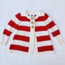 Old Navy Baby Girls' Red & White Cardigan Sweater 12-18mos Photo