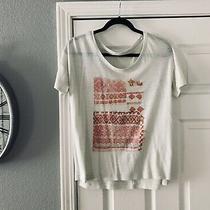 Old Navy Beige White Boyfriend Womens Shirt Top Blouse Express Size Medium Photo