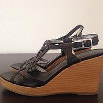 Old Navy Black Strappy Wedge Platform Sandal Size 8 Photo