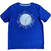 Old Navy Boys Active Large Short Sleeve T-Shirt - Blue With Baseball Graphic Photo
