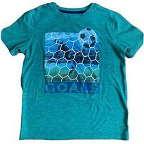 Old Navy Boys Active Large Short Sleeve T-Shirt - Green With Soccer Graphic Photo