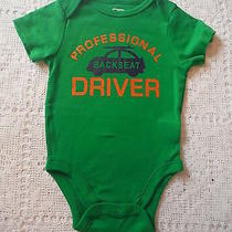 Old Navy Boys Green Back Seat Driver Onesie  Shirt Body Suit Size 0-3 New Car Photo