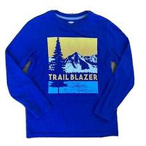 Old Navy Boys Large Long Sleeve Graphic T-Shirt Blue Adventure Photo