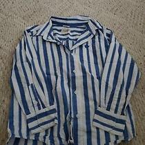 Old Navy Boys Size Medium Blue/white Dress Striped Button Down Long Sleeve Shirt Photo