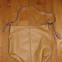 Old Navy Camel Leather-Like Hobo Bag Purse Great Condition Preowned Zipper Close Photo