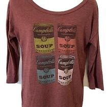 Old Navy Collectabilitees Womens Xtra Small Maroon Campbells Soup T-Shirt 3/4 Sl Photo