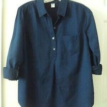 Old Navy Dark Wash Lt Wgt Denim Blue Jean Shirt Peasant Top 0 2 Xs Maternity Photo