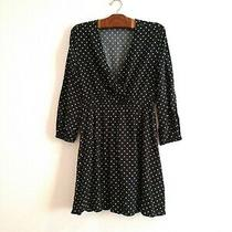 Old Navy Dress Black With White Polka Dots Medium Deep v Neck Elastic Waist Photo
