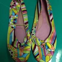 Old Navy Floral Satin Like Ballet Flats Size 8-9 Excellent Condition Super Cute Photo