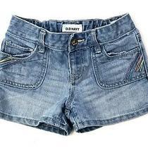 Old Navy Girls Blue Jean Denim Shorts Size 7 Rainbow Pockets Adjustable Waist Photo