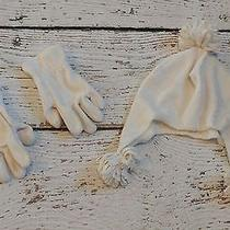 Old Navy Girls Cream White Silver Hearts Hat and Mittens Gloves Set S-M 5 6 7 8  Photo