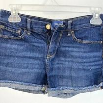 Old Navy Girls Denim Blue Jean Shorts Size 14 Cuffed Frayed Photo
