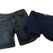Old Navy Girls Size 10 Short Lot of 2 Jean Shorts and Navy Blue Chino Adjustable Photo