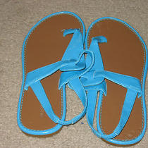 Old Navy Girls Thong Sandals Size 3 Aqua Blue - Cute Photo