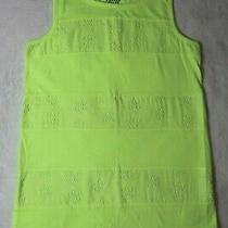 Old Navy Girls Top Size L 10-12 Neon Yellow Tank Top Eyelet Inlays Spring Summer Photo