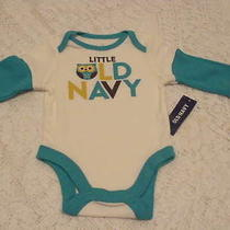 Old Navy Green & White Owl Onesie Top Tee Shirt New Nwt Size 0-3  Months Photo