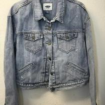 Old Navy Jean Jacket Cropped Trucker Denim Womens L Distressed Blue Wash Pockets Photo