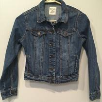 Old Navy Kids Boys Girls Blue Denim Size Large Trucker Jean Jacket Button Down  Photo