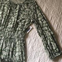 Old Navy Long Sleeve Waist-Defined Green Floral Dress Photo
