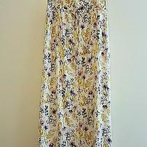 Old Navy Maternity Maxi Dress Floral Gold Purple Yellow Gold Blush Large Photo