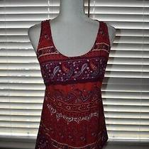 Old Navy Maternity Pink Red Purple Paisley Patterned Sleeveless Top Size Medium Photo