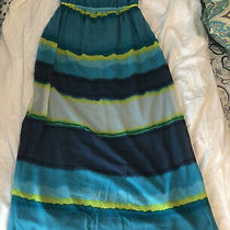 Old Navy Maternity Striped Maxi Dress With Adjustable Straps Size L Euc Photo