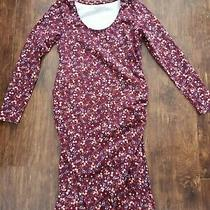 Old Navy Medium Maternity Dress Never Worn Dark Red Floral Photo