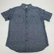 Old Navy Men's Size L Large Button Down Shirt Slim Fit Short Sleeve Blue Denim Photo