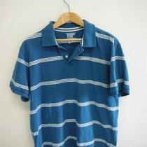 Old Navy Mens Size L Teal White Stripe S/s Polo Shirt Free Shipping Photo