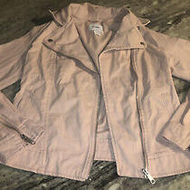 Old Navy Moto Jacket Blush Pink Womens Size Xs Cotton Zippers Washed & Worn Once Photo