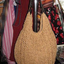 Old Navy Natural Hobo Handbag With Brown Strap Paper Purse Hand Bag Photo